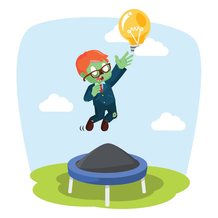 zombie businessman jumping on trampoline Illustration