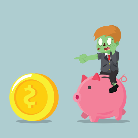 chasing: zombie businessman riding piggybank chasing coin