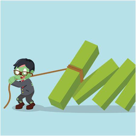 pulling: zombie businessman pulling falling diagram