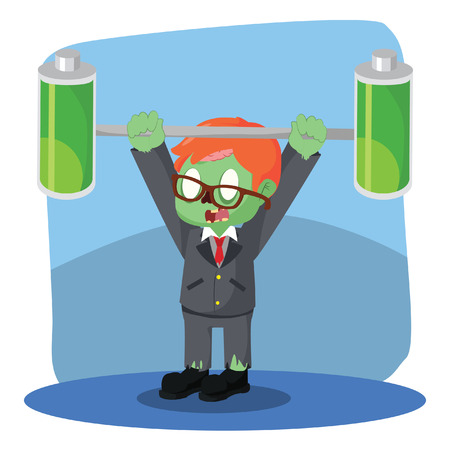 batteries: zombie businessman lifting two full batteries Illustration