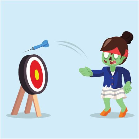 zombie businesswoman missed the target with eye closed