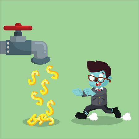 zombie businessman with money faucet