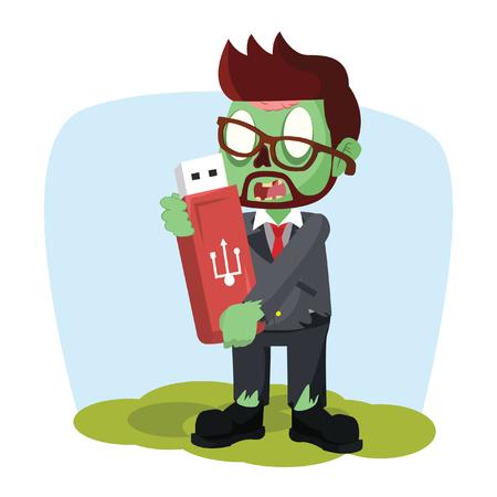 zombie businessman holding giant flashdisk