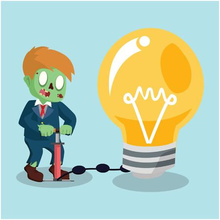 inflating: zombie businessman pumping bulb Illustration