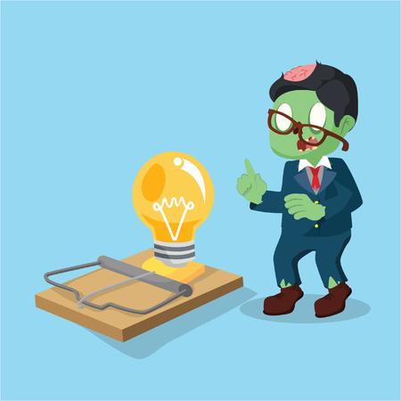 zombie businessman setting idea trap