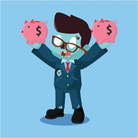 zombie businessman holding two piggy bank