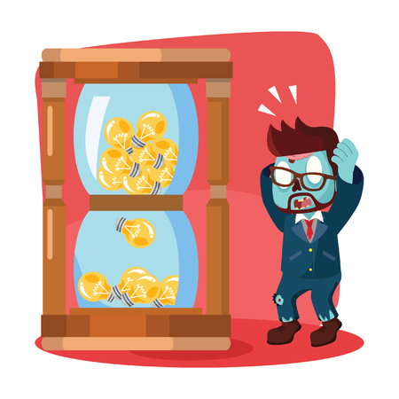 big timer: zombie businessman running out of bulb in hourglass Illustration