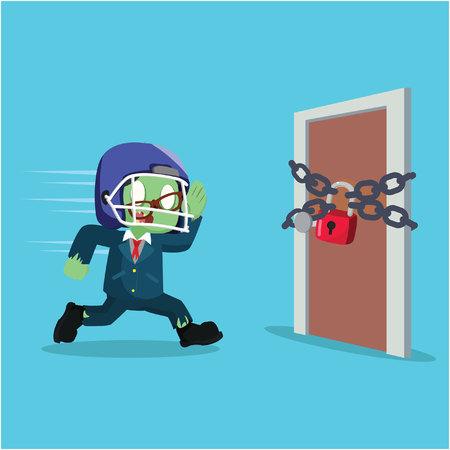 zombie zakenman loopt naar een deur
