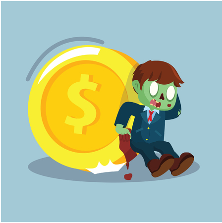 zombie businessman trying to hold giant coin