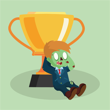 zombie businessman relaxing with trophy