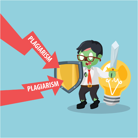plagiarism: zombie businessman protecting his bulb