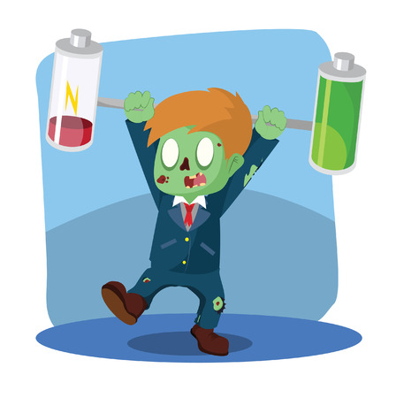 zombie businessman unbalanced battery Illustration