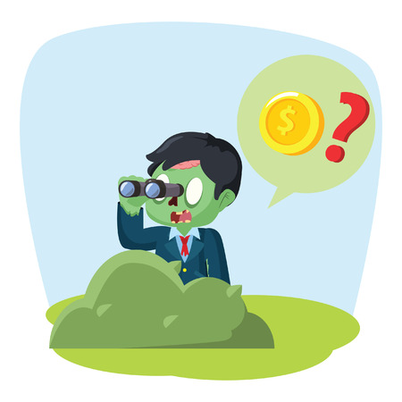 zombie businessman searching coin with binocular Illustration