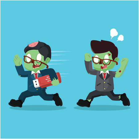 zombie businessman stealing data with flashdisk