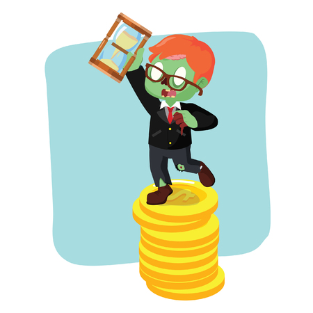 zombie businessman on coin holding hourglass