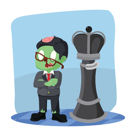 zombie businessman standing in front king chess piece