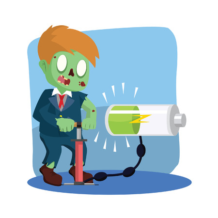 zombie businessman pumping energy Illustration