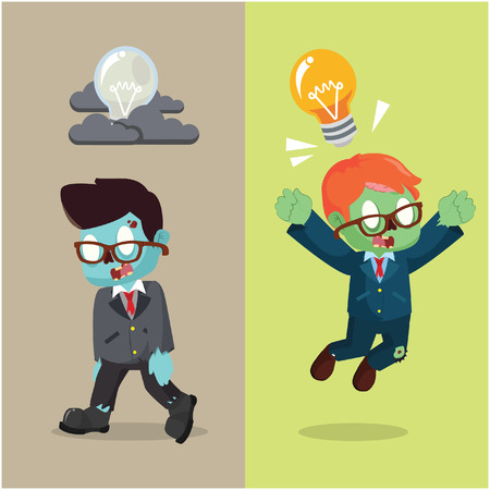 unsuccess: zombie businessman brilliant idea and not