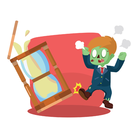 zombie businessman angry kicking hourglass Illustration