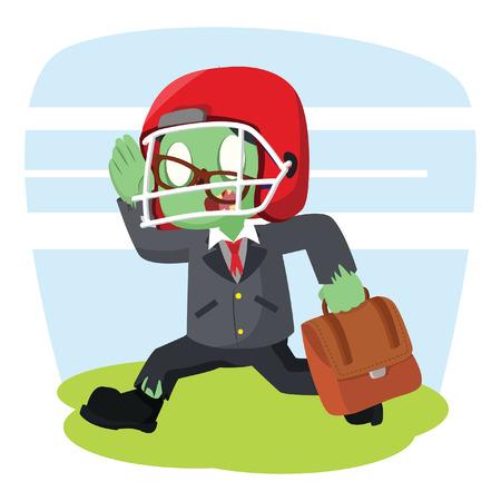 zombie businessman running with football helmet