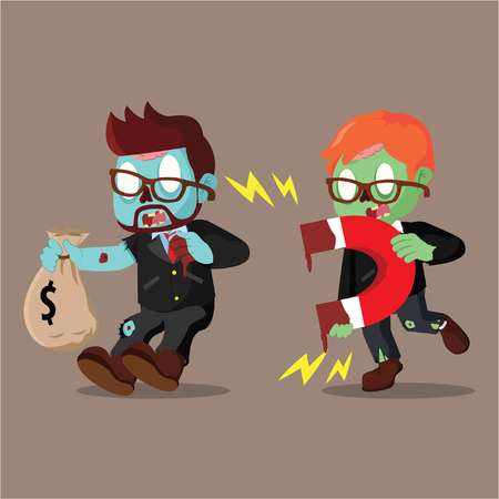 zombie businessman magneting other businessman