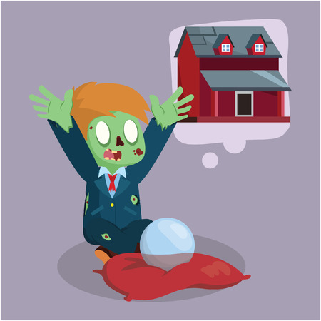 cross legged: zombie businessman wishing for a house Illustration