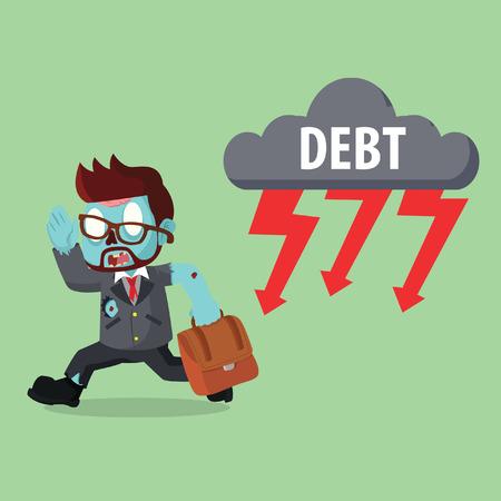 Zombie businessman running from debt thunder