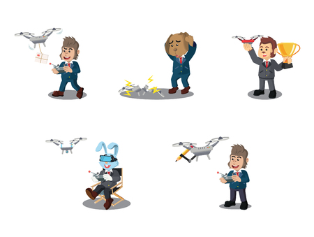 business animal with drone cartoon set