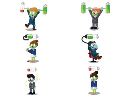 business zombie with battery cartoon set Illustration