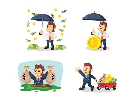 bag of soil: business monkey with money cartoon set