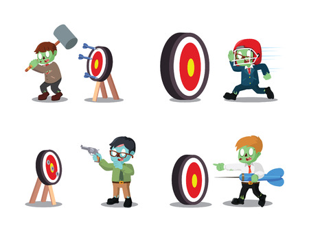 business zombie with the target cartoon set  イラスト・ベクター素材