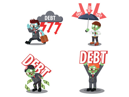 business zombie with debt cartoon set