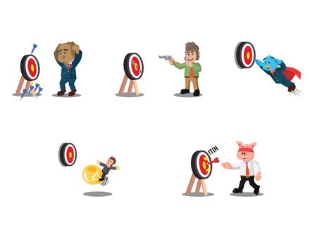 business animal with the target cartoon set