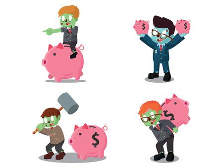 business zombie with piggy bank cartoon set Ilustração