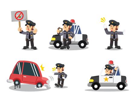 Conjunto de dibujos animados de la policía de mono