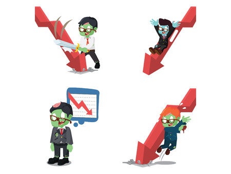 business zombie with down graphic cartoon set