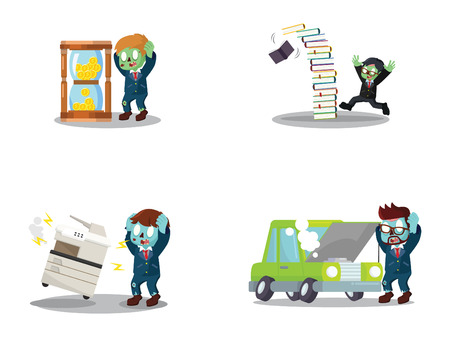 business zombie panic cartoon set