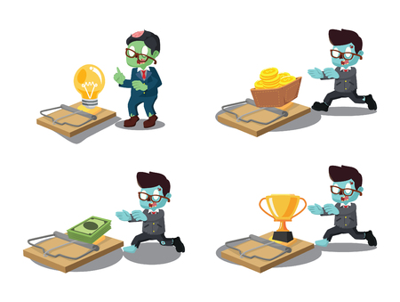 business zombie with trap cartoon set