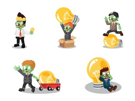 Zombie businessman with bulb cartoon set. Illustration