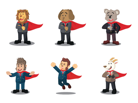 super dog: Business animal heroes cartoon set. Illustration