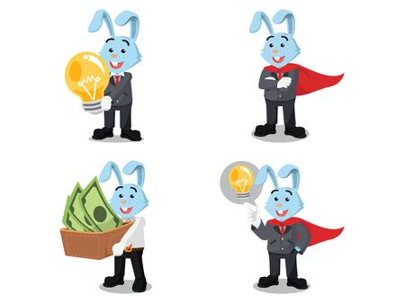 business rabbit happy cartoon set