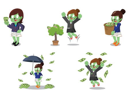 plant stand: Zombie businesswoman with money cartoon set. Illustration