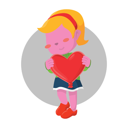 pink girl holding heart shaped balloon