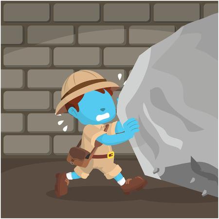 blue boy explorer pushing boulder