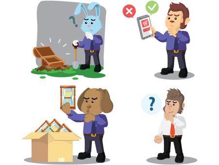 business animal confused cartoon set Illustration