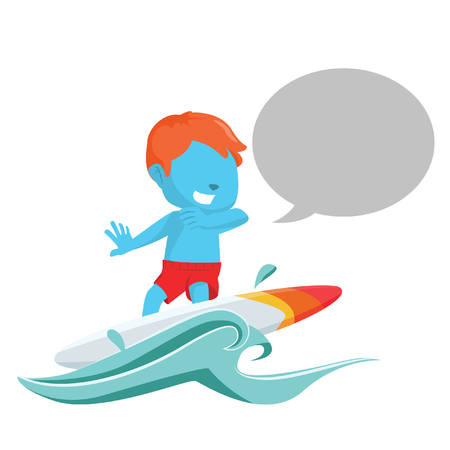 callout: Blue boy surfing with callout