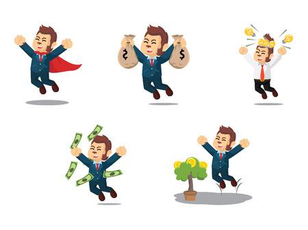 Business monkey happy cartoon set