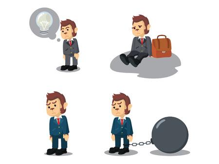 Business monkey tired cartoon set
