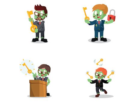 business zombie with the keys cartoon set Illustration