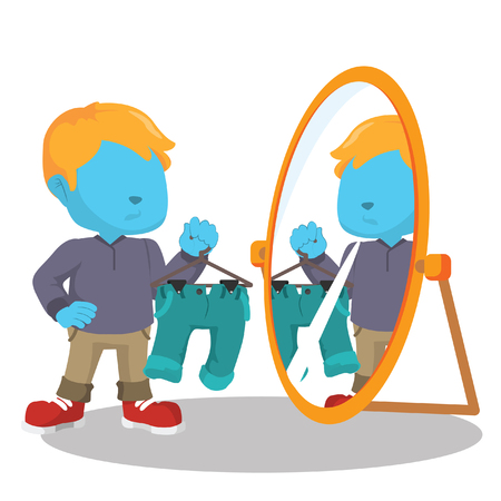 look in mirror: blue boy looking at the mirror
